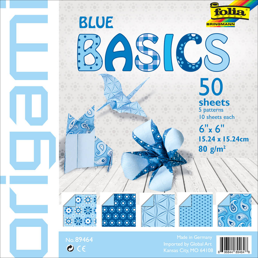 "Folia Basics Origami Paper 6""X6"" 50/Pkg-Blue"