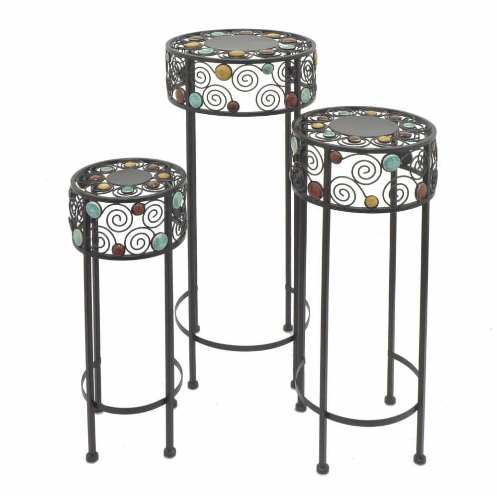 Metal Stone Plant Stand Set of 3 Benzara by Benzara