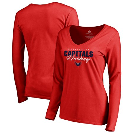 Washington Capitals Fanatics Branded Women's Iconic Collection Script Assist Long Sleeve V-Neck T-Shirt - Red