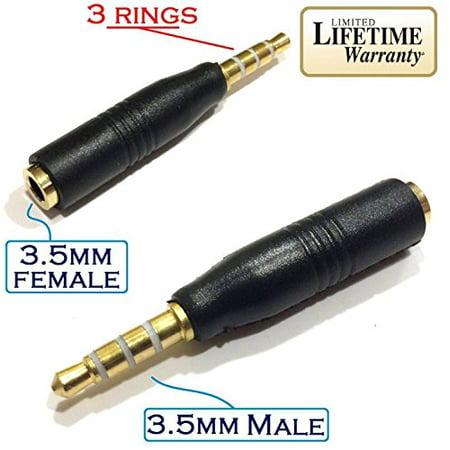 Josi Minea Black 3.5mm Headphone Adapter 3 Ring Jack for Apple iPhone 6 / 6 Plus / 5S / 5C / 5 4S, iPad Air / Mini, Samsung G