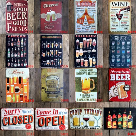 Meigar 22 Style Decorative Signs Metal Iron Tin Sign Vintage Retro Cheers Beer Wall Decoration Art Bar Home Decor (Metal Beer Bar Style Sign)