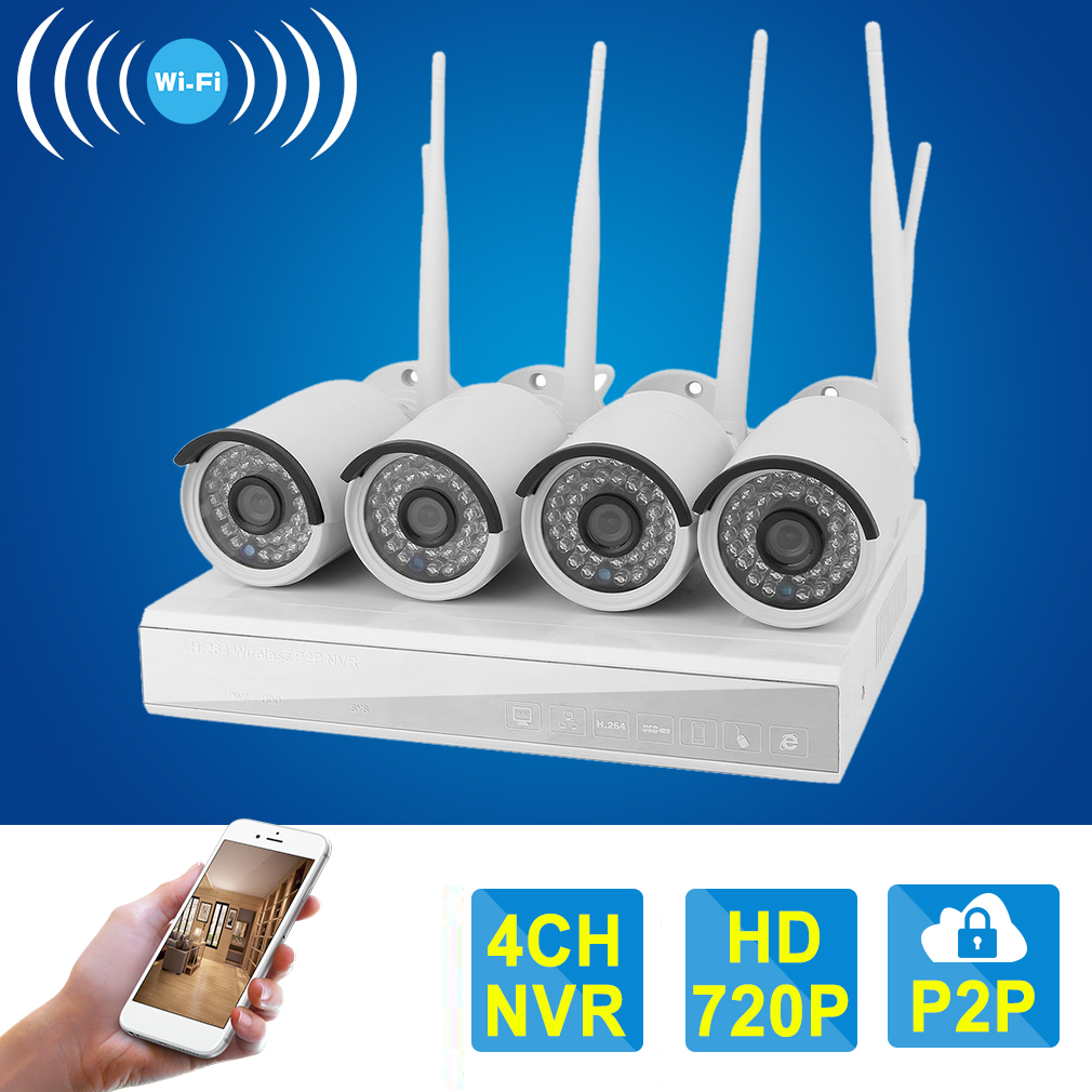 4CH Wireless CCTV System 720P HD NVR kit Outdoor IR Night...