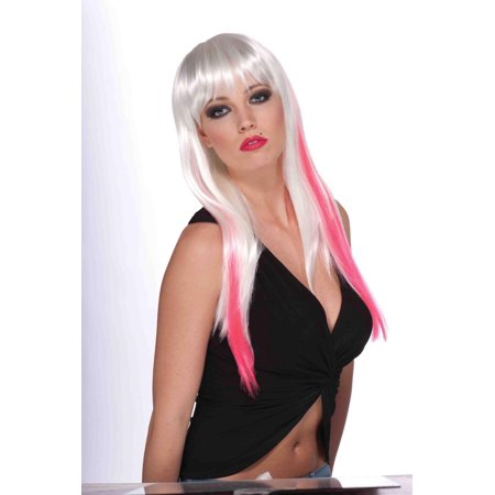 Long White And Neon Pink Adult Punk Rock Costume Wig With - Long White Wig With Bangs