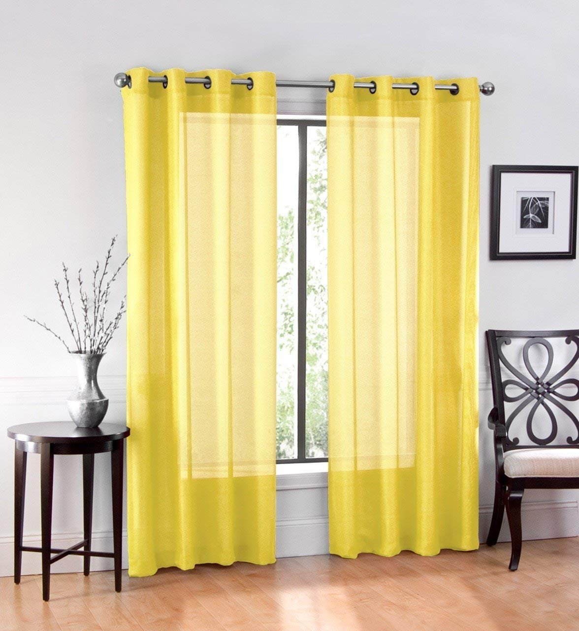 Ruthy S Textile 2 Piece Window Sheer Curtains Grommet Panels 54 X 108 Total 108 X 108 Inch Length For Kitchen Bedroom Living Room Color Yellow Walmart Com Walmart Com