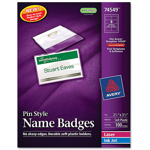 Avery Pin Style Name Badge Holders 74549 w/Laser/Inkjet Inserts, Top Loading, 2-1/4 x 3-1/2, White, 100/Box