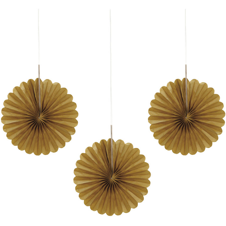 "6"" Mini Gold Tissue Paper Fan Decorations, 3ct"
