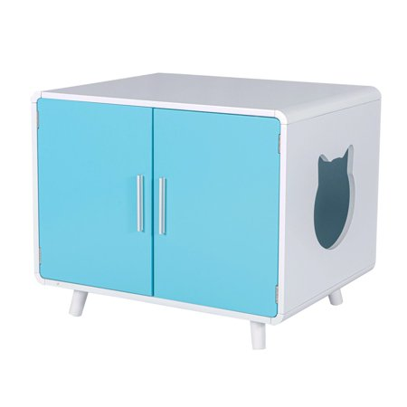 Good Life Safe Furniture Style Cat Litter Box Crate with Storage, Large Wooden Pet House with Table Nightstand for Washroom, Home Designer Look with Double Doors, White-Blue, 28