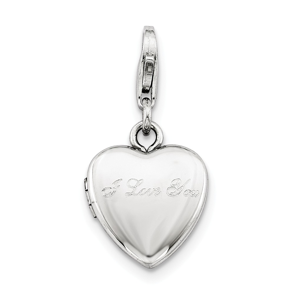 Sterling Silver 0.4IN I Love You Lobster Clasp Heart Locket (0.5IN x 0.4IN )