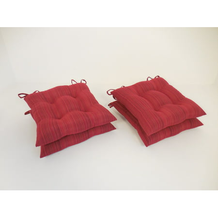 Red Cushions (Essentials Rainy Stripe Set of 4 Chair Cushions Red)