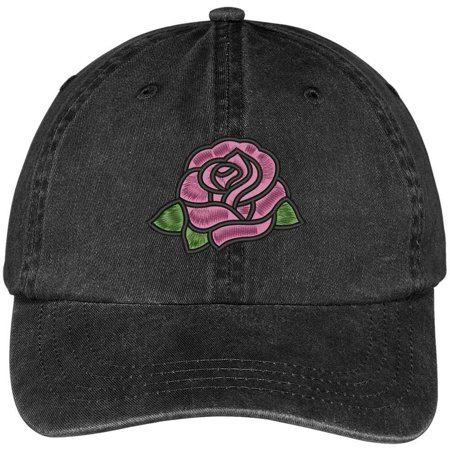 100 Rose (Trendy Apparel Shop Single Pink Rose Embroidered 100% Cotton Washed Low Profile Cap - Black )