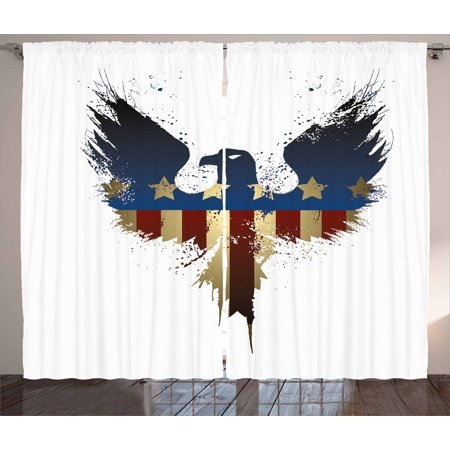 Eagle Curtains 2 Panels Set, The American Flag on Silhouette of National Bird of the Country Majestic Animal, Window Drapes for Living Room Bedroom, 108W X 90L Inches, Blue Red Sepia, by Ambesonne ()