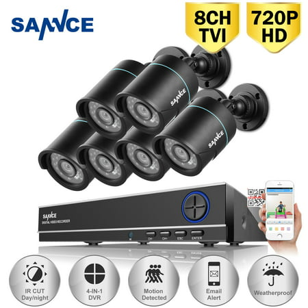 SANNCE 8CH 960H HD DVR 6pcs 720P IR outdoor CCTV Home Security System Cameras Surveillance Video kits with motion detection(0-NO HDD,1-1TB