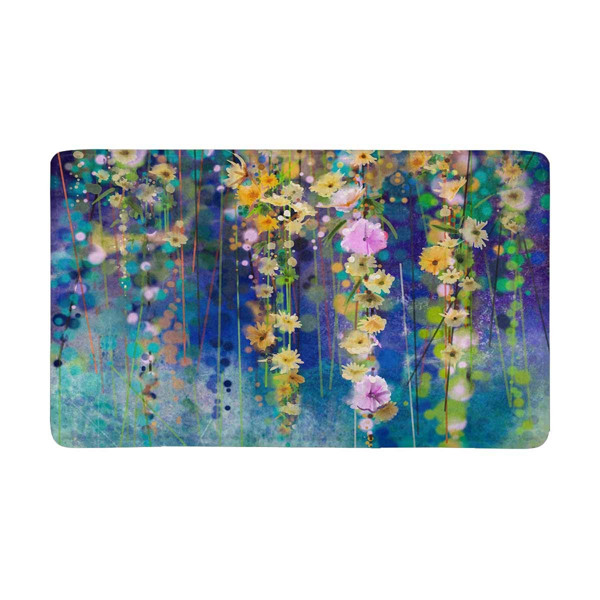 MKHERT Abstract Floral Watercolor Painting Spring Flower Doormat Rug Home Decor Floor Mat Bath Mat 30x18 inch