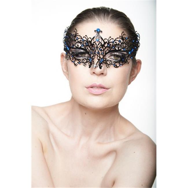 Lotus Filigree Black Masquerade Mask With Pink Rhinestones