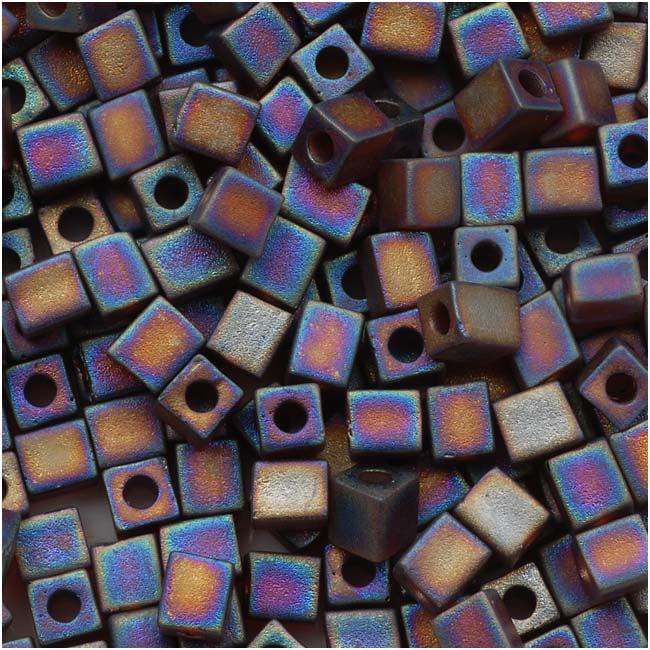 Miyuki 4mm Glass Cube Beads Transparent Frosted Dk Topaz AB #134FR 10 Grams
