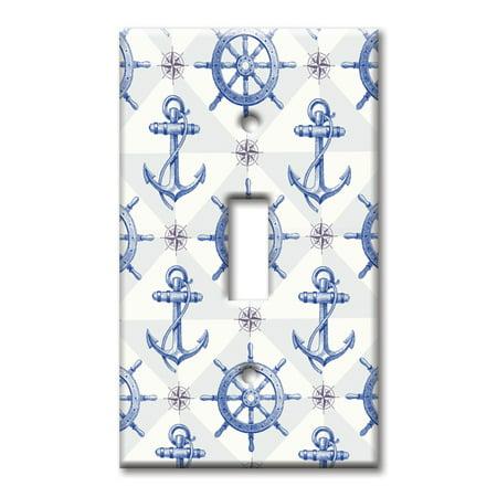 Single Gang Toggle OVERSIZE Wall Plate - Nautical