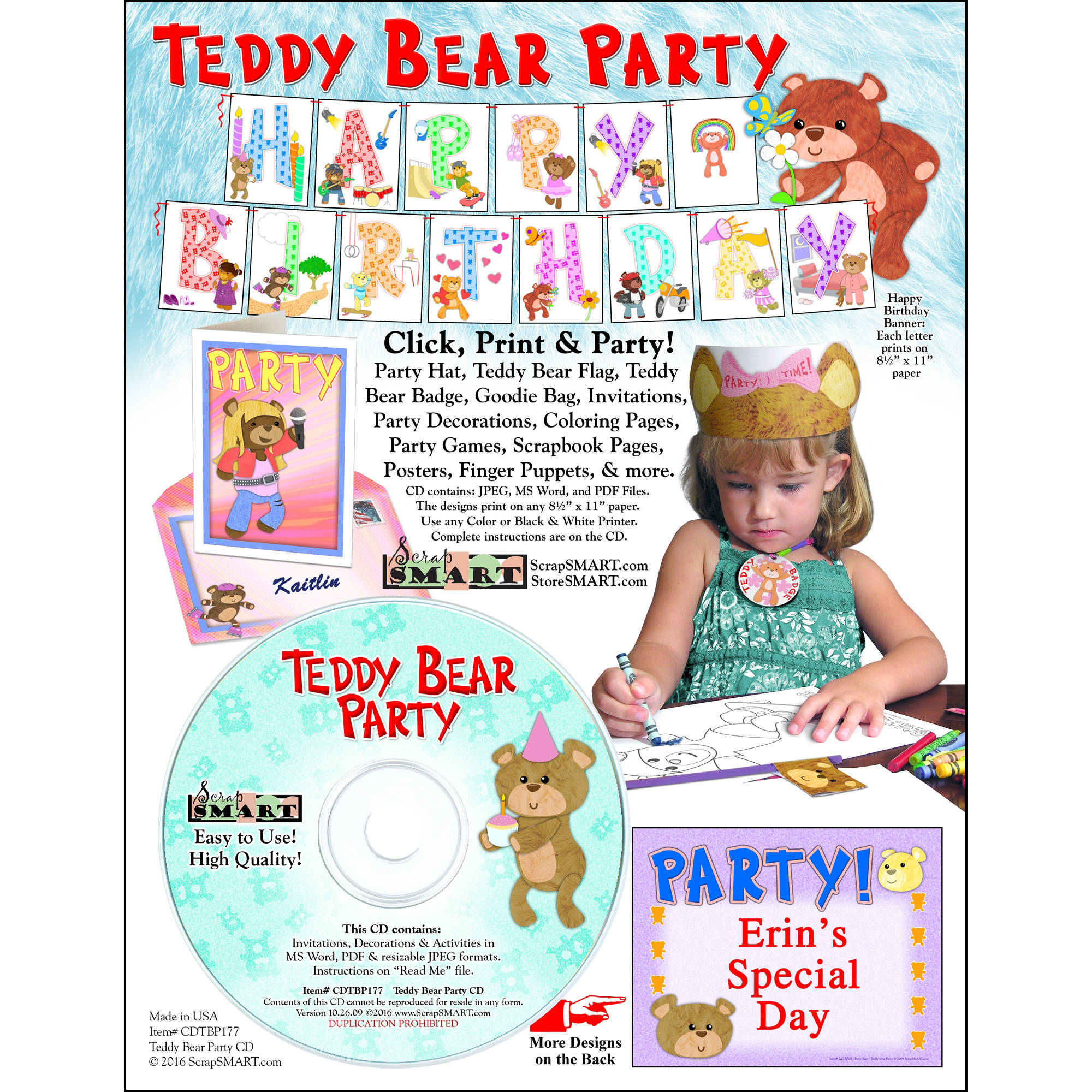 ScrapSMART Teddy Bear Party: Decorations, Crafts, Scrapbook and Coloring Pages CD-ROM
