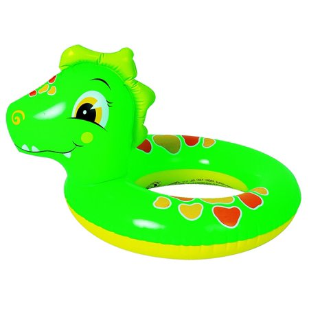 Inflatable Green and Orange Dinosaur Children's Swimming Pool Inner Tube Ring, - Inflatable Ring