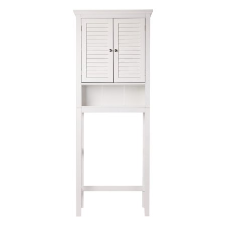 glitzhome bathroom wooden free standing storage cabinet with 2 shutter doors white. Black Bedroom Furniture Sets. Home Design Ideas