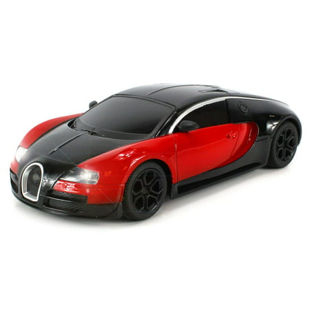 1:24 Scale Size RC Bugatti Veyron Super Sport Electric Remote Control Vehicle, Diecast Metal Body Ready To Run RTR w/ Working Headlights (Colors May Vary)