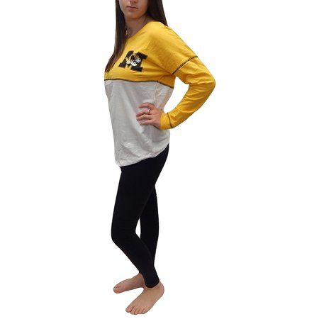Missouri Tigers University - University of Missouri Mizzou Tigers Officially Licensed Logo Junior Fit Drop Yoke Tee French Terry Long Sleeve T-Shirt (Large)