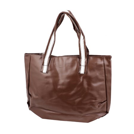 Women Traveling Shopping Brown Faux Leather Coin Purse Phone Tote Bag Handbag Faux Leather Medium Tote Bag