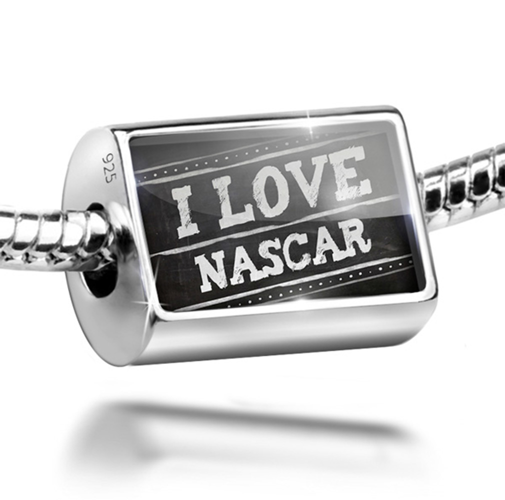 Bead Chalkboard with I Love Nascar Charm Fits All European Bracelets by NEONBLOND