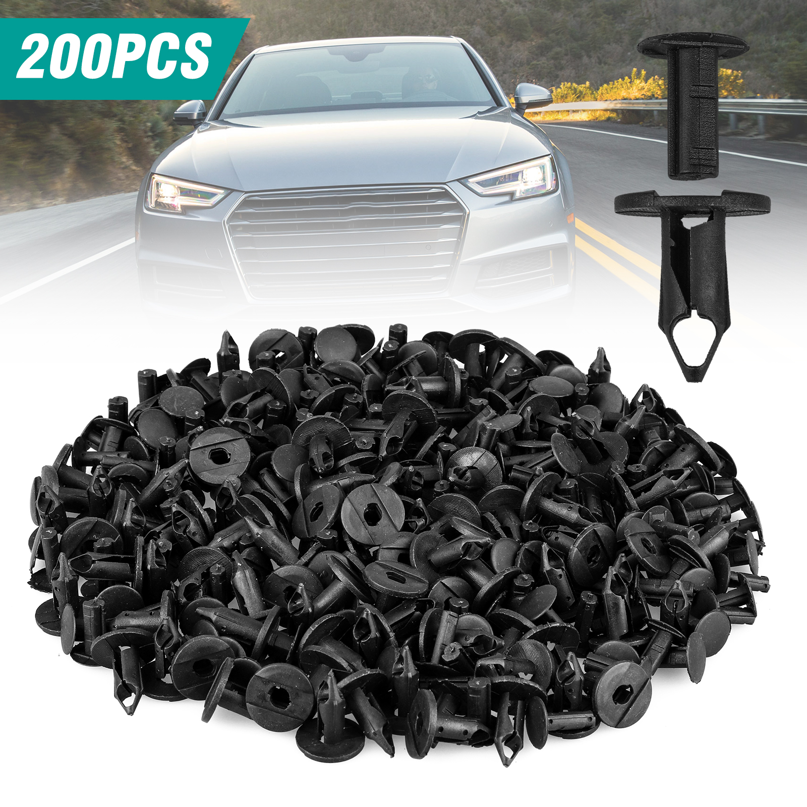 EEEkit Nylon Bumper Fastener Rivet Clips Automotive Furniture Assembly Expansion Screws Kit Auto Body Clips 8mm - 200PCS