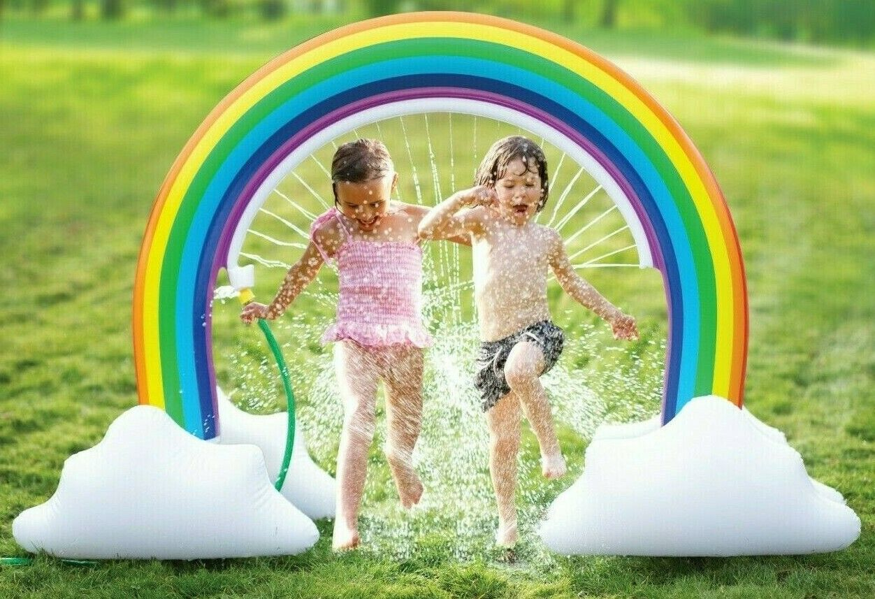 lenbest Rainbow Sprinkler Toys 95 Wider Summer Inflatable Water Toys Outdoor Backyard Party Pool Summer Sprinkler Toy for Children Infants Boys Girls and Kids Summer Spray Water Toy