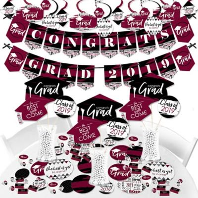 Maroon Grad - Best is Yet to Come - 2019 Burgundy Graduation Party Supplies - Banner Decoration Kit - Fundle (Best Hair Bundles 2019)