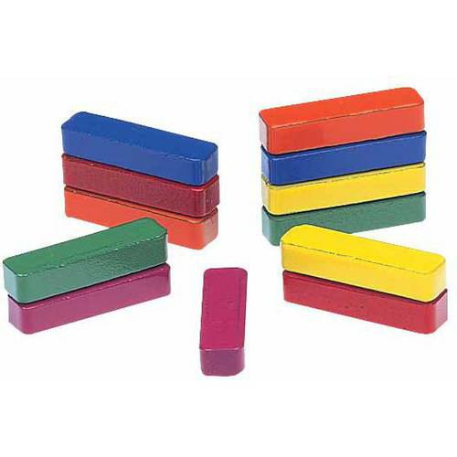 60mm x 8mm Ceramic Bar Magnets Classroom Set of 10 Small