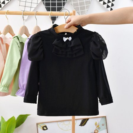 Hot Kids Girls Stand Collar Formal Fitted Casual T-Shirt Kids Top Spring Long Sleeve Skinny Children Tees Girls Skinny Fit T-shirt