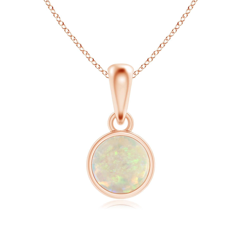 Angara Bezel-Set Opal Necklace for Women in Yellow Gold 3mWUMOX
