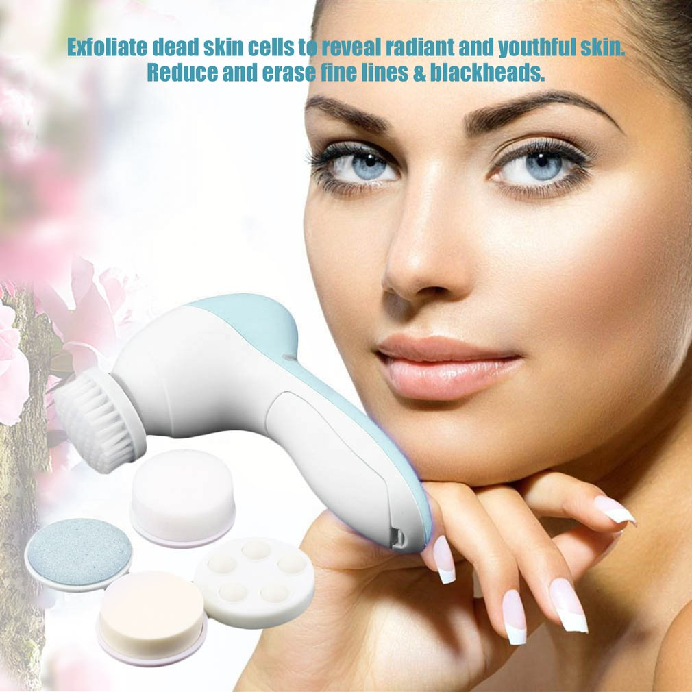 1 Set 5-in-1 Electric Wash Face Machine Facial Pore Cleaner Body Cleaning Massage Mini Skin Beauty Massager Brush