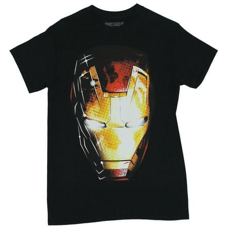Iron Man (Marvel Comics) Mens T-Shirt - Face Helmet Image in Light & Shadow](Foam Iron Man Suit For Sale)