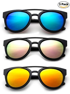 Newbee Fashion - Kids Teens Juniors Plastic Fashion Sunglasses for Girls & Boys Flash Mirror Lens Stylish Popular Aviator Shape Kids Fashion Sunglasses High Quality in 3 Value Pack