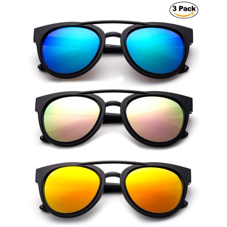 Newbee Fashion - Kids Teens Juniors Plastic Fashion Sunglasses for Girls & Boys Flash Mirror Lens Stylish Popular Aviator Shape Kids Fashion Sunglasses High Quality in 3 Value (Cute Sunglasses For Juniors)