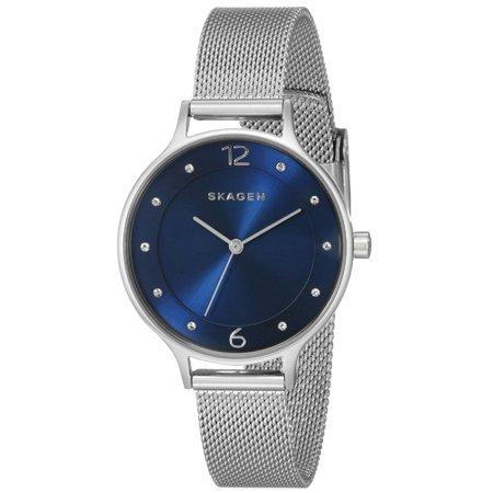 Skagen SKW2307 Women's Anita Crystal Accented Blue Dial Stainless Steel Mesh Bracelet Watch