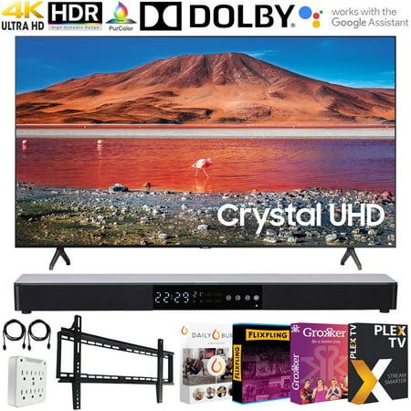 "Samsung UN43TU7000 43-inch 4K Ultra HD Smart LED TV (2020 Model) Bundle with 31-in Sound bar+Wall Mount+Tech Smart USA TV Essentials 2020 & Surge Adapter (UN43TU7000FXZA 43TU7000 43"" TV)"