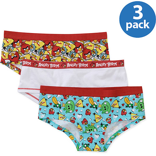 Angry Bird Girls' 3-Pack Boyleg Panties