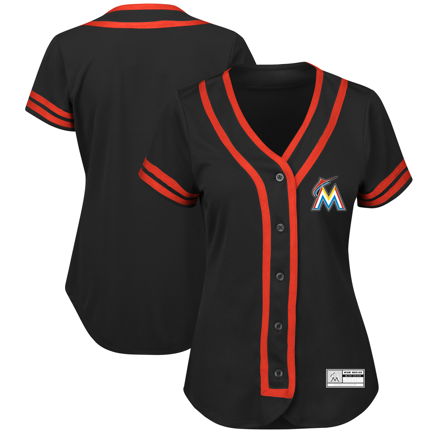 Miami Marlins Majestic Women's Fashion Absolute Victory Cool Base Team Jersey Black Orange by MAJESTIC LSG