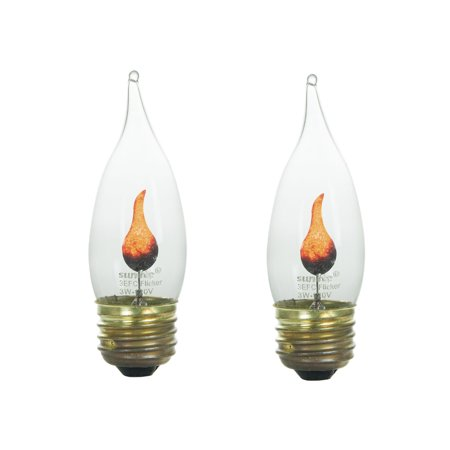 2-Pack Flame Light Bulb Flicker Edison E26 Standard Base Flickering Orange - Halloween Flickering Light Bulbs