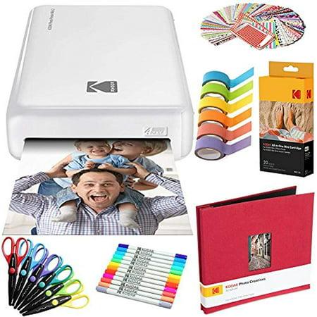 Kodak Mini2 Instant Photo Printer (White) Art Bundle + Paper (20 Sheets) + 8x8 Cloth Scrapbook + 12 Twin Tip Markers + 100 Border StickerS + 6 Decorative Scissors + (20 Sheet Printer Paper)