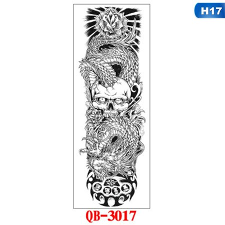 Skull And Roses Tattoo Sleeve (AkoaDa Summer Large Arm sleeve Tattoo Waterproof temporary tattoo Sticker Skull Angel rose lotus Men Full Flower Tatoo Body)