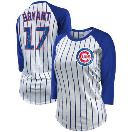 0d4a6eb69 Kris Bryant Chicago Cubs Majestic Threads Women s Pinstripe Player Name    Number Raglan 3 4-Sleeve T-Shirt - White Royal - Walmart.com