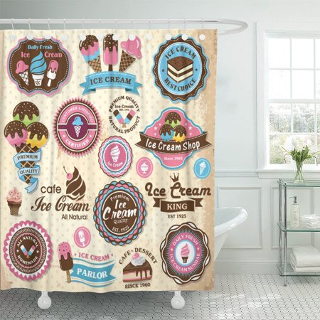PKNMT Cookie Collection of Vintage Retro Ice Cream Labels Badges Shower Curtain 60x72 - Ice Cream Labels