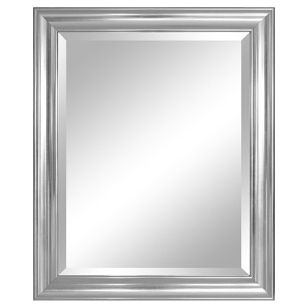"Alpine Furniture Crackled Silver Wall Mirror 28""x 34"""