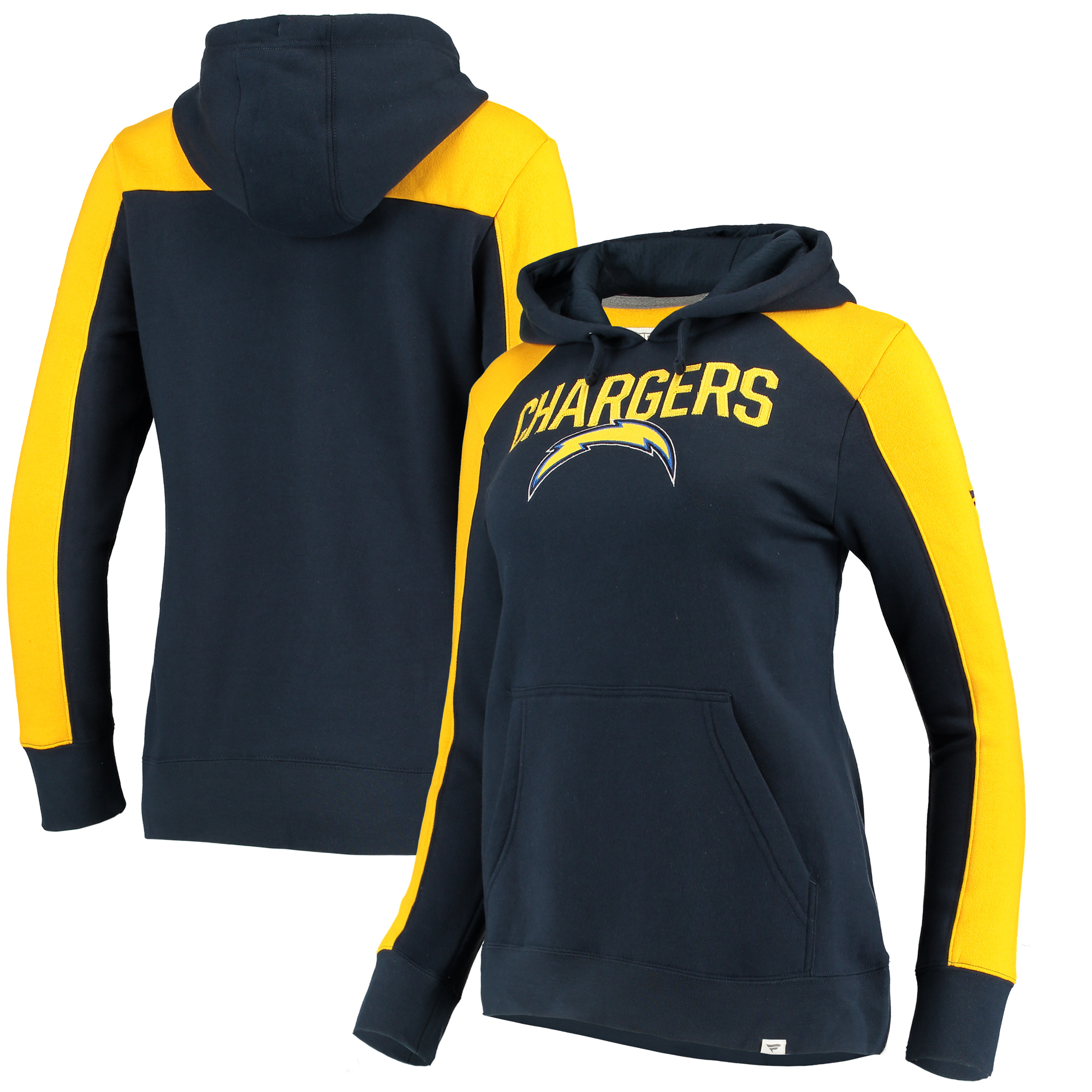 Los Angeles Chargers NFL Pro Line by Fanatics Branded Women's Iconic Fleece Pullover Hoodie - Navy/Gold