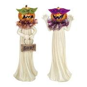 "Pack of 4 Decorative Glitter Halloween Pumpkin Ghost Figures 13"""