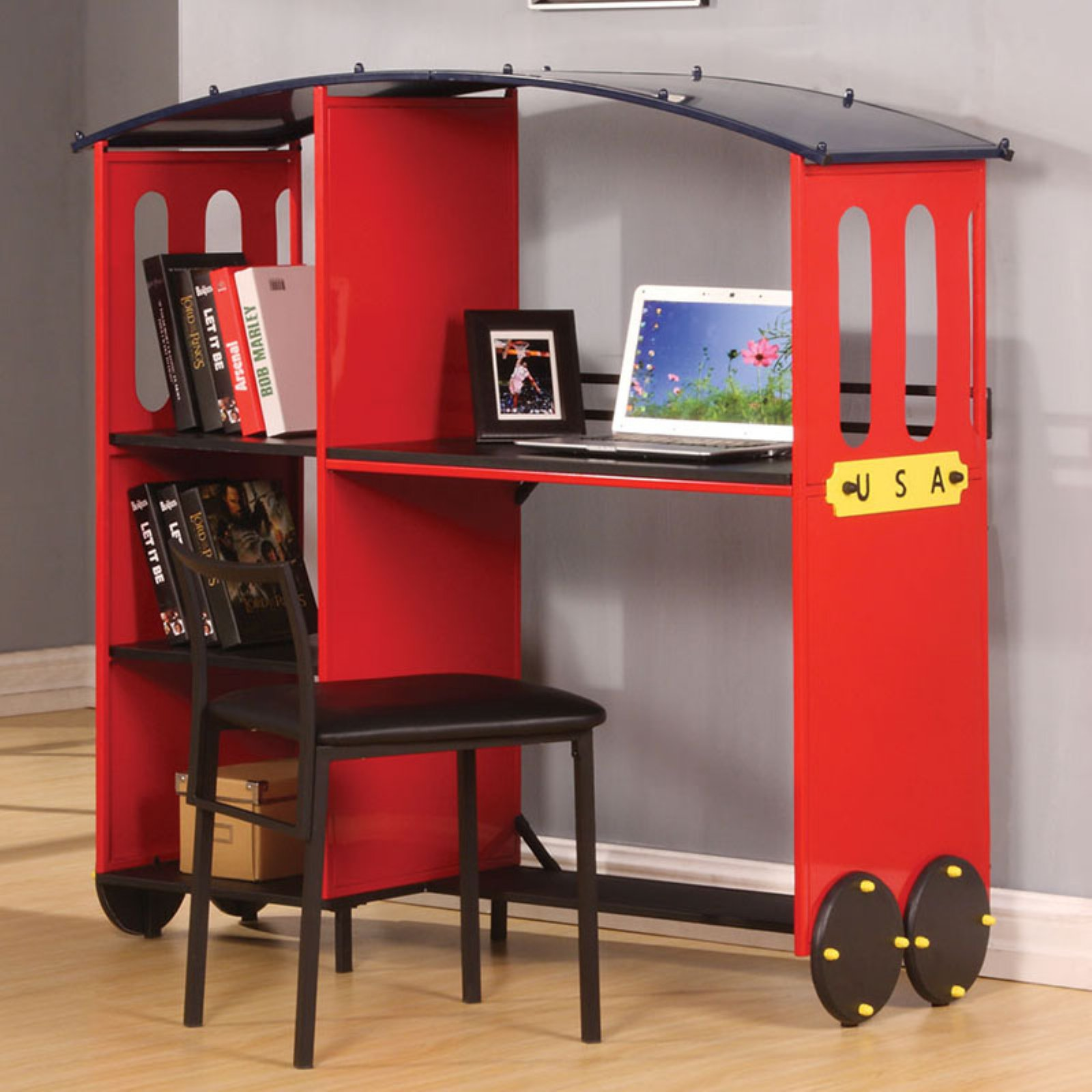 Acme Tobi Desk with Bookcase, Red and Black (Box 2 of 2)